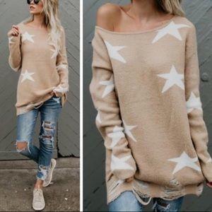 Fantastic Fawn Distressed Star sweater
